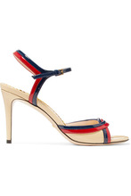GUCCI | Gucci - Millie Patent-leather Sandals - Cream | Clouty