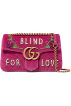 GUCCI | Gucci - Gg Marmont Medium Embellished Quilted Velvet And Leather Shoulder Bag - Pink | Clouty