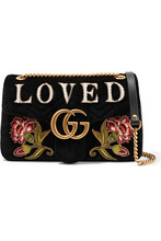 GUCCI | Gucci - Gg Marmont Medium Embroidered Matelasse Velvet Shoulder Bag - Black | Clouty