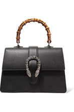 GUCCI | Gucci - Dionysus Bamboo Medium Textured-leather Tote - Black | Clouty