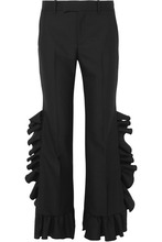 GUCCI | Gucci - Ruffled Wool And Mohair-blend Flared Pants - Black | Clouty