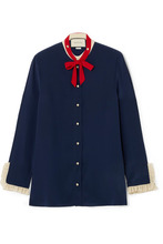 GUCCI   Gucci - Pussy-bow Ruffled Silk Blouse - Navy   Clouty