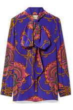 GUCCI   Gucci - Treasure Pussy-bow Printed Silk Crepe De Chine Blouse - Purple   Clouty