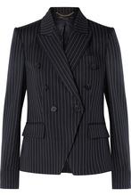 Stella McCartney | Stella McCartney - Double-breasted Pinstriped Wool-blend Blazer - Midnight blue | Clouty