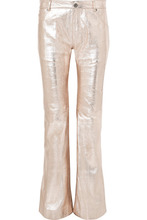 Chloé | Chloe - Metallic Textured-leather Flared Pants - Silver | Clouty