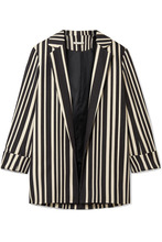 Alice + Olivia | Alice + Olivia - Neta Striped Cotton-blend Blazer - Black | Clouty