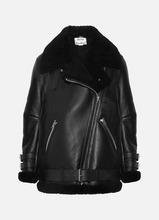 Acne Studios | Acne Studios - Velocite Shearling-trimmed Leather Biker Jacket - Black | Clouty