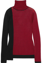 Sonia Rykiel | Sonia Rykiel - Striped Silk And Cotton-blend Turtleneck Sweater - Red | Clouty