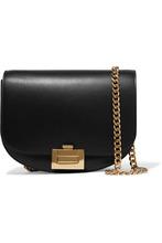 Victoria Beckham | Victoria Beckham - Half Moon Box Chain Leather Shoulder Bag - Black | Clouty