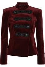 BALMAIN | Pierre Balmain - Drummer Boy Embellished Cotton-blend Velvet Jacket - Burgundy | Clouty