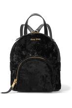 MIU MIU | Miu Miu - Leather-trimmed Velvet Backpack - Black | Clouty