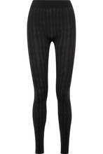 Wolford | Wolford - Striped Stretch Modal-blend Leggings - Black | Clouty