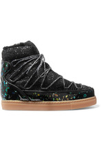 SOPHIA WEBSTER | Sophia Webster - Quentin Glittered Leather, Shearling And Mesh Snow Boots - Black | Clouty