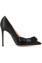 Gianvito Rossi | Gianvito Rossi - Kyoto 100 Bow-embellished Satin Pumps - Black | Clouty