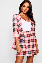 Boohoo | Pink Check Double Breasted Blazer | Clouty