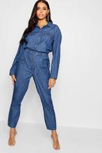 Boohoo | Horn Button Pocket Denim Boiler Suit | Clouty