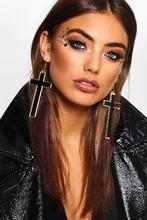 Boohoo | Halloween Gold Contrast Cross Earrings | Clouty