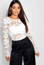 Boohoo | Crochet Lace Open Back Long Sleeve Top | Clouty