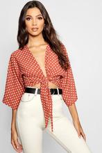 Boohoo | Polka Dot Tie Front Kimono | Clouty