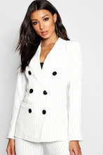 Boohoo | Pinstripe Double Breasted Contrast Button Blazer | Clouty