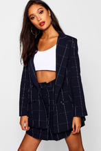 Boohoo | Woven Double Breasted Window Pane Check Blazer | Clouty