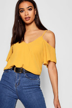 Boohoo | Cold Shoulder Wrap Front Top Blouse | Clouty