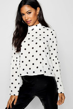 Boohoo | High Neck Polka Dot Blouse | Clouty