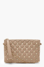 Boohoo | Square Stud & Quilt Clutch & Chain | Clouty