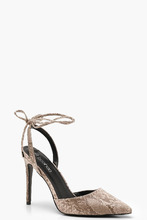 Boohoo | Pointed Wrap Strap Snake Court Shoes | Clouty