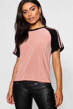 Boohoo | Sports Stripe Slinky Tee | Clouty