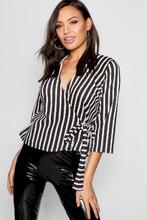 Boohoo | Stripe Wrap Side Tie Detail Blouse | Clouty