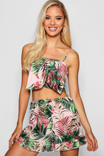 Boohoo | Lisa Palm Bow Front Sheered Back Short Co-ord | Clouty