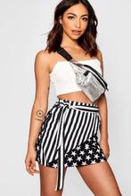 Boohoo | Evia Stars & Stripes Wrap Crepe Mini Skirt | Clouty