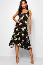 Boohoo   Ruffle Hem Lemon Print Maxi Dress   Clouty