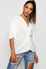 Boohoo | Twist Knot Front V Neck Blouse | Clouty