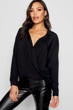 Boohoo | Wrap Front Revere Collar Shirt | Clouty