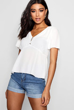 Boohoo | Button Detail Angle Sleeve Blouse With Black Tie | Clouty