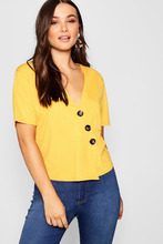 Boohoo | Horn Button Detail Boxy Pocket Top | Clouty