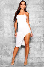 Boohoo   Strappy Cross Back Thigh Split Midi Dress   Clouty