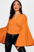 Boohoo | Saffron Extreme Flare Sleeve Wrap Tie Crop | Clouty