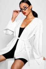 Boohoo | Pinstripe Kimono Sleeve Belted Duster Jacket | Clouty