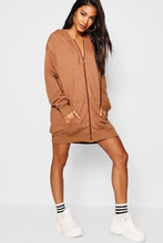 Boohoo | Athleisure Oversize Zip Through Hooded Dress | Clouty