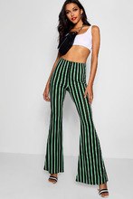 Boohoo | Crepe Bold Stripe Flare Trousers | Clouty