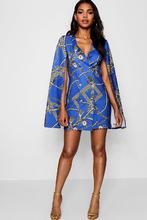 Boohoo   Chain Print Cape Sleeve Mini Dress   Clouty