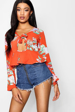 Boohoo | Floral Printed Tie Front Blouse With Key Hole | Clouty