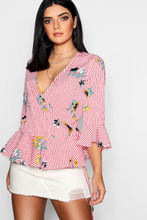 Boohoo | Floral + Stripe Ruffle Hem Wrap Top | Clouty