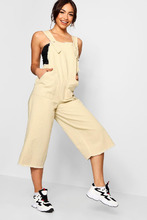 Boohoo | Side Tab Fray Edge Cropped Denim Jumpsuit | Clouty