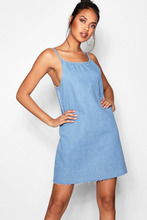 Boohoo | Loose Low Back Strappy Denim Dress | Clouty