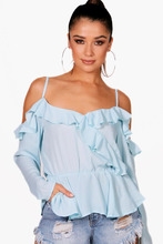 Boohoo | Cold Shoulder Ruffle Blouse | Clouty