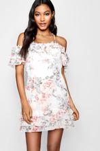 Boohoo | Boutique Cold Shoulder Floral Mini Dress | Clouty